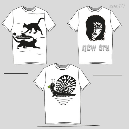 author: White T-shirt with a black pattern Unisex Clothing author design summer demi advertising snail puddle cat print head man Banner text eps10 vector illustration Stock Illustration