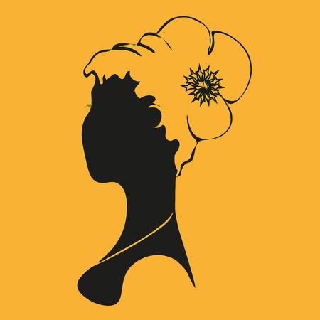 Biust z kobietą logo Streszczenie autora wydrukować fryzura dziewczyna styl w stylu sylwetka wzór handmade dekoracja eps10 ilustracji wektorowych zapasów Logo