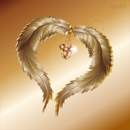 Two feather and diamond Abstract valentine celebration author design heart glint jewel chain flying love the romanticism style two wing vector illustration eps10 stock Illustration