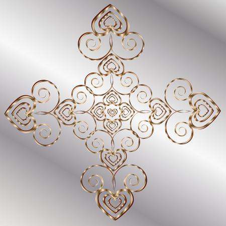author: Mandala valentine card Abstract symmetric Ornamental Metal bronze background author design heart pattern style forged decoration openwork handmade vector illustration eps10 stock