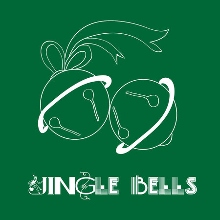 jingle bells: Jingle bells in green Christmas bells with ribbon on a dark green background Illustration