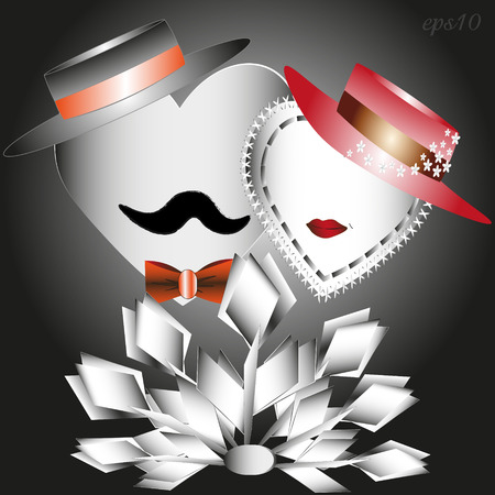 He, she and a bouquet of white tulips Abstract holiday valentine love heart two author paper flower design style hat mustache lips red retro romance