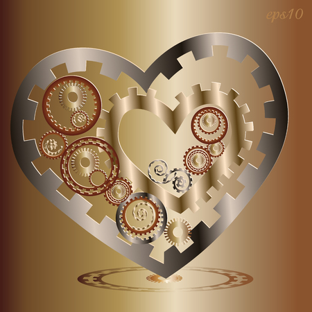 author: Two Mechanical heart image Abstract author card design mechanism metal parts copper cog transmission circle pattern style techno handmade valentine vector illustration Illustration