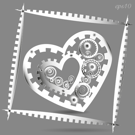 author: Mechanical Paper Heart Abstract frame author design, style,  techno white cog mechanism love valentine circle rivet screw shadow gray