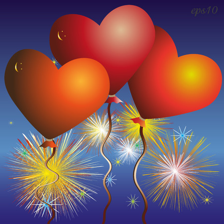Three red heart balloon Abstract celebration firework composition author design, volume smiley greeting card Valentine love romantic bright colored drawing Stock vector illustration
