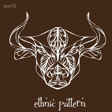 Ethnic pattern bull Beautiful bull painted on a brown background an ethnic background or logo