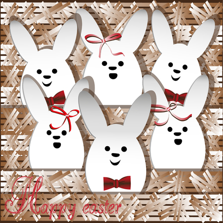 Chorus Christmas white rabbit Holiday religion drawing greeting style paper appliqué funny girl and boy rabbit bow red text stock vector illusory author design card Illustration