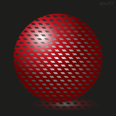 author: Big red ball Abstraction author design sphere red light on black visual illusion shadow handmade print logo vector stock illustration