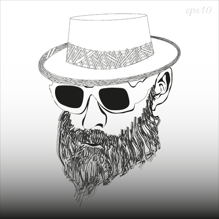 A man with a beard with glasses and a hat Image of a black and white head of a man's headdress sunglasses dense beard style hipster stock vector illustration Ilustrace