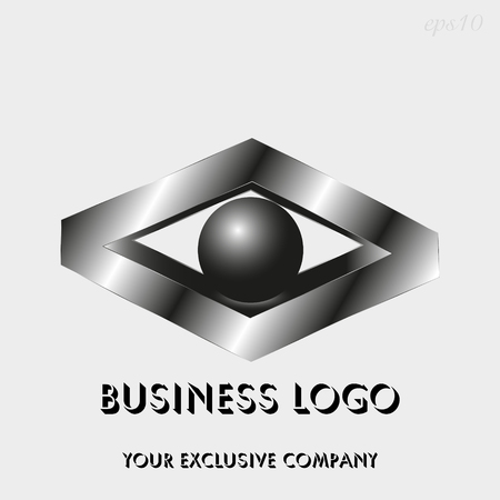 Logo rhombus and sphere Drawing business emblem style geometry metal quadrangle ball inscribed inside figure text stock vector illustration