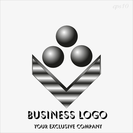 Logo three black sphere Drawing business emblem style geometry metal painted image of a flower from iron or silver text stock vector illustration