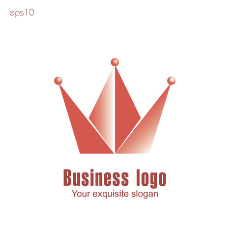 Crown business logo Diadem emblem red consists of a triangle and three ball for the company or site text stock vector illustration Ilustrace