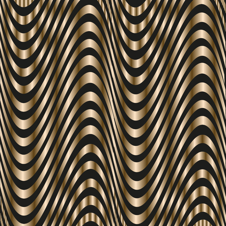 author: Texture gold wave Abstract wavy stripes author design and print illusion volume style metal stock vector illustration Illustration