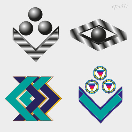 Four different logo sets Business emblem of two style metal and two multi-colored simple geometric pattern of black ball, cut of metal author design of stock vector illustration Ilustrace