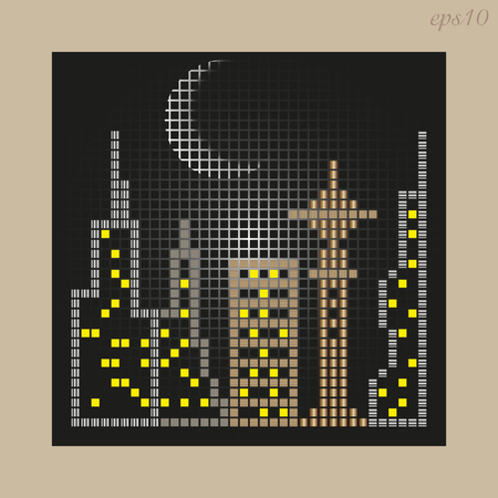 Mosaic City drawing Abstraction author design night city sky moon ornament house telecenter window light stock vector illustration Ilustrace