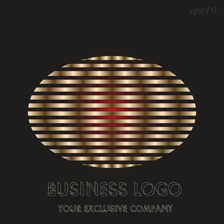 Golden ellipse logo Emblem of business on black background sector golden ellipse inside decoration author design text stock vector illustration