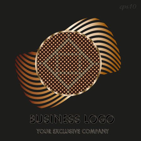 Golden circle logo Emblem of business on black circle background and sphere inside decoration ornament and gold ring author design text stock vector illustration