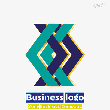 Logo geometric blue green Business emblem two directions symbols pointing in different directions simple original sign for company stock vector illustration