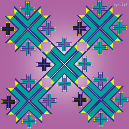 A simple geometric ornament Abstraction pattern of the author design consists of a triangle and a quadrangle forms a cross big t small stock vector illustration