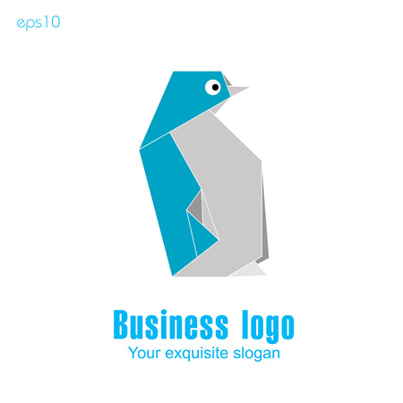 Penguin logo Original logo from triangles in the shape of a cute penguin of blue color on a white background