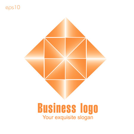 Orange business logo on white background for design Original logo from triangles of orange color for design ornament gradient beauty