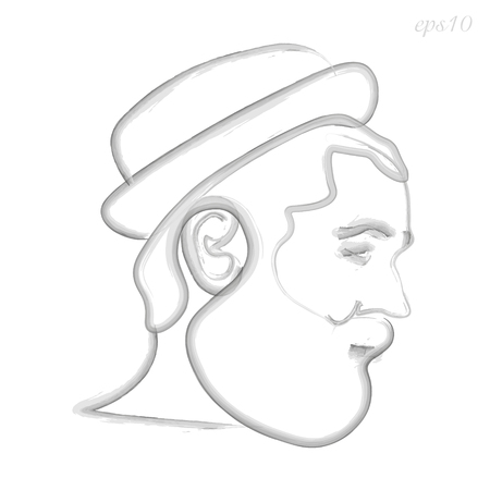 Man with beard hat watercolor Original logo man in hat painted watercolor on white background in profile art object design business concept