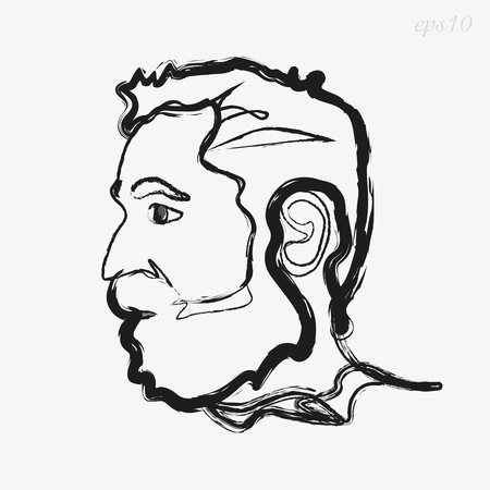 Man with beard coal Original logo man painted with charcoal on white background in profile art object design concept