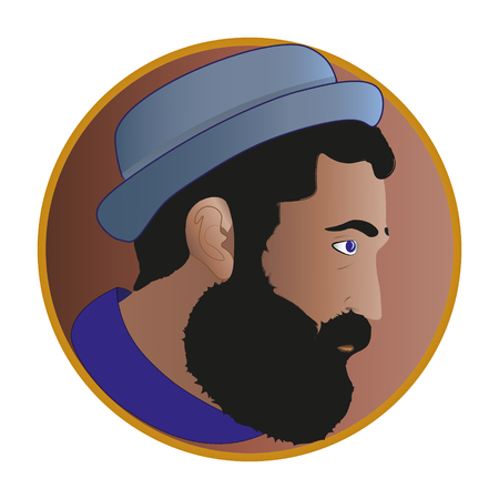 Profile a man with beard Original logo multicolored portrait man icon icon in hat and t-shirt in brown circle on white background in profile art object design business concept
