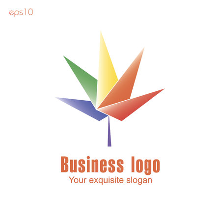 Five leaves logo Original logo from triangles multicolored in leaf form Ilustrace
