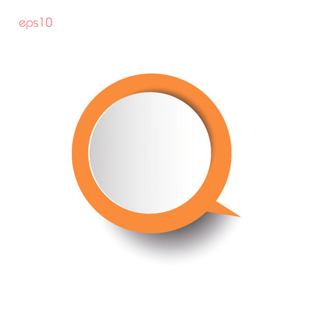 Orange infografic with shadow Paper circles orange thinking with shadow on white background for business ideas infographics logo design websites printing color