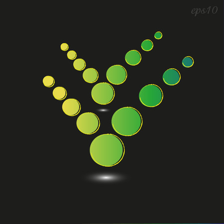 Green circle symbol check mark Abstraction of emblem or logo on black shadow under the object of a circle yellow and green parallel arrangement of big drawing icon vector stock illustration Ilustrace