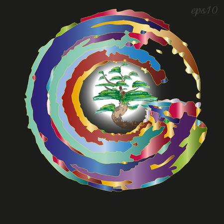 Emblem or logo tree in a circle Abstraction style art nouveau emblem Ilustrace