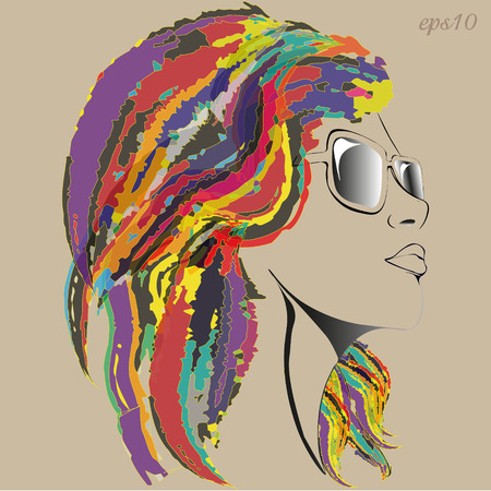 Girl in glasses Portrait of a modernist style girl with mottled hair a bright hairstyle girl's sketch face black line snub nose full lips stock photography illustration neck slender