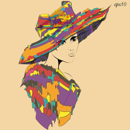 Girl in hat and cape Silhouette portrait of art nouveau style woman in half turn in headgear and shawl