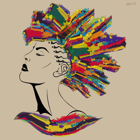 Girl with a mohawk haircut Portrait of a woman in a profile with a tattoo on a head of a hair