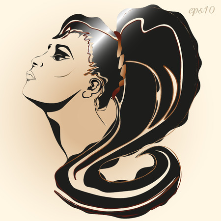 Portrait of a girl in a fashion graphics Image in a profile of a woman long black hair with a curl tint Illustration