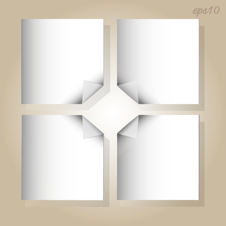 White sheets of paper White four sheets of paper with curled corners arranged stock photography illustration