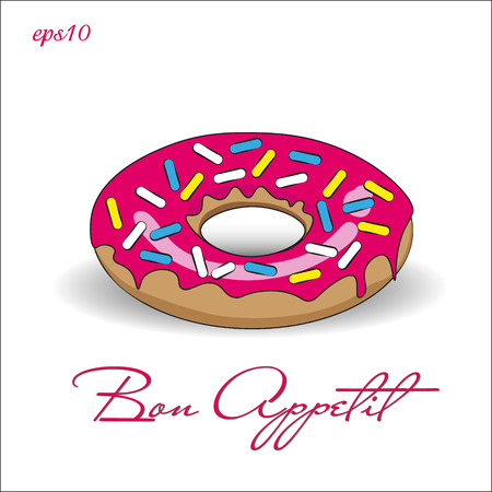Donut with pink icing Picture bright appetite dessert multi-colored crumb shadow text illustration stock vector Ilustração