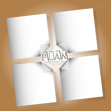 My action plan is infographic Drawing of a white sheet of paper with a curved corner of the text in the middle image