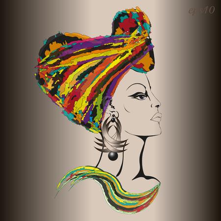Vrouw in etnische hoofddeksel Portret van een vrouw in het profiel van een hamer is gehuld in een heldere doek Stock Illustratie