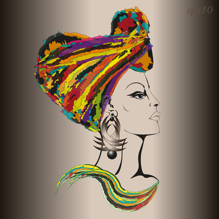 Woman in ethnic headgear Portrait of a woman in the profile of a gavel is shrouded in a bright cloth