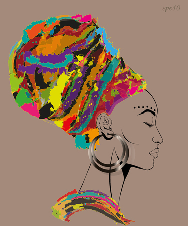 Woman with closed eyes Portrait of a woman in a motley headdress big ear ear long eyelashes high forehead stock vector illustration