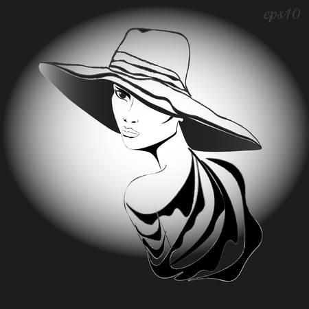 Woman with hat Portrait of a woman wearing a headdress turned in half a turn drawing black white full lips seen one eye slender neck stock vector illustration Ilustrace