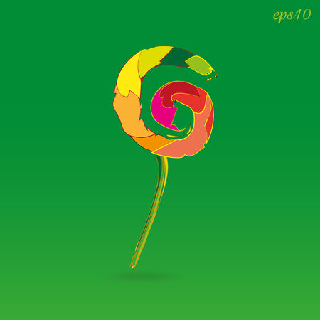 Crazy colored lollipop Abstraction food treats or caramel variegated candy on the green modernist style