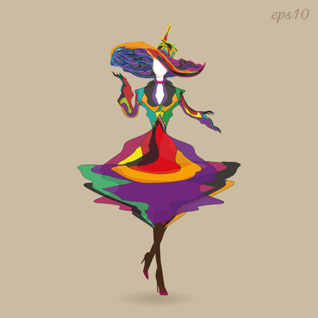 Image of an elegant girl Woman going to a motley dress pantyhose on her legs high heels on her head big multi-colored hat drawing style modern