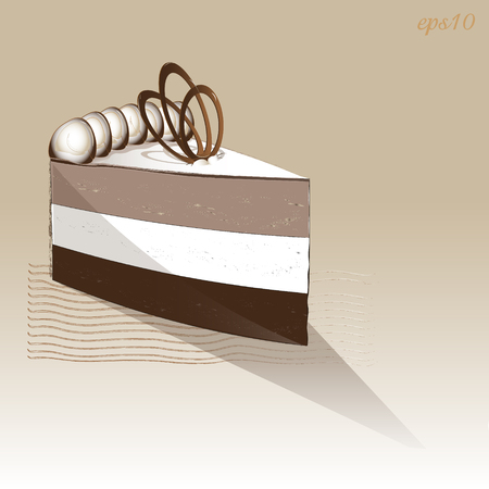 One piece chocolate souffl� cake Dessert three layer with a figurine chocolate on top decorated with meringue diet food drawing for printing or menu