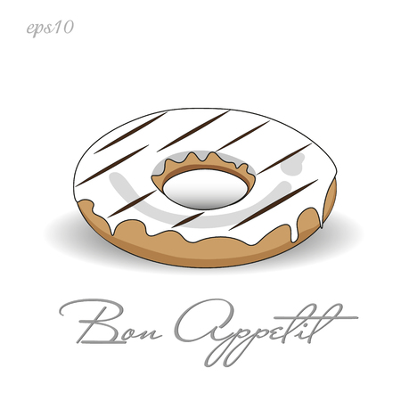 Donut with white icing Image bright appetite dessert with chocolate decoration crumb shadow text illustration stock vector
