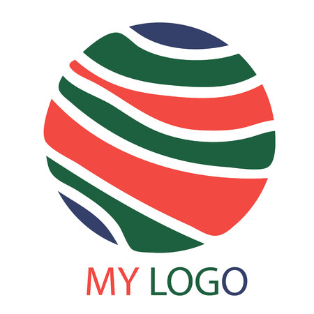 My smart logo Abstract emblem for business circle multicolored strips of text Ilustrace