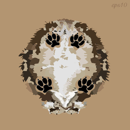 Shaggy dog ??bottom view Abstract composition style pop art trunk of fluffy animal four black paws