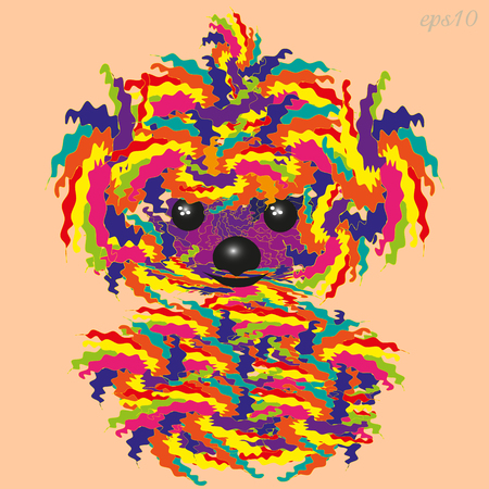 Motley shaggy dog, animal abstract multicolored patchwork toy with eyes, nose, and ears vector illustration Ilustrace